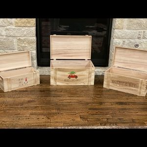 Rae Dunn solid Wood Christmas Gift Boxes Chests